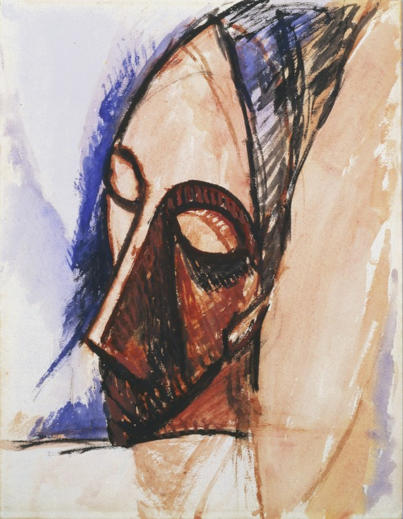 Pablo Picasso, Tête de trois quarts (Head in Three-Quarter View), 1907