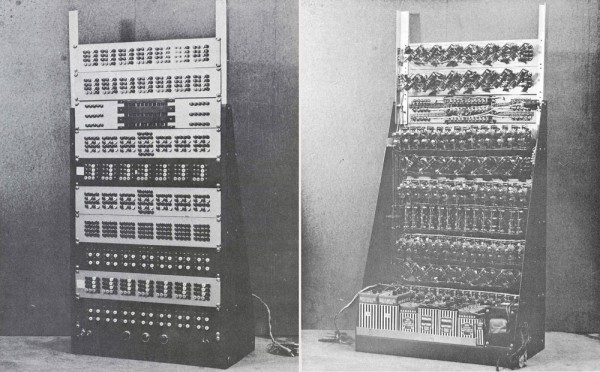 Front (left) and back views of Babcock's adaptive reorganizing automaton.