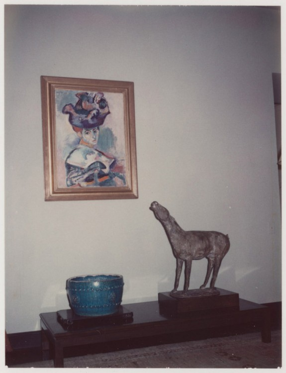 Installation view of Haas home with Cavallo and Femme au chapeau. Courtesy of The Bancroft Library, University of California, Berkeley