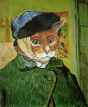 Bob Dylan as a Cat missing his ear, dressed as Vincent Van Gogh. Graphic: Chris Cobb