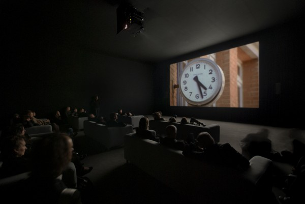 Christian Marclay, installation view of The Clock, 2010; single-channel video with sound; 24 hours; White Cube Mason's Yard, London, October 15–November 13, 2010; courtesy Paula Cooper Gallery, New York, and White Cube, London; photo: Todd-White Photography; © Christian Marclay