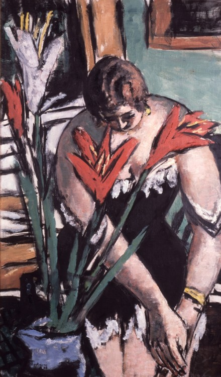 Max Beckmann, Frau bei der Toilette mit roten und weissen Lilien (Woman at Her Toilette with Red and White Lilies), 1938