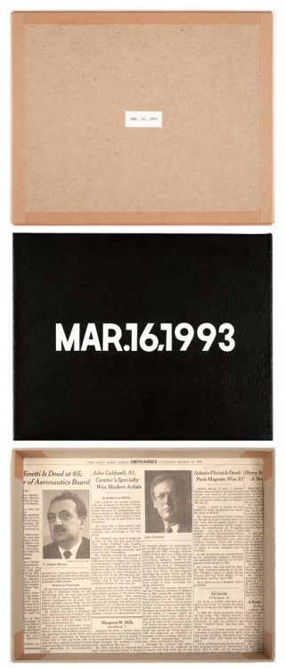 "On Kawara, MAR. 16, 1993, from the ""Today"" Series, 1993"