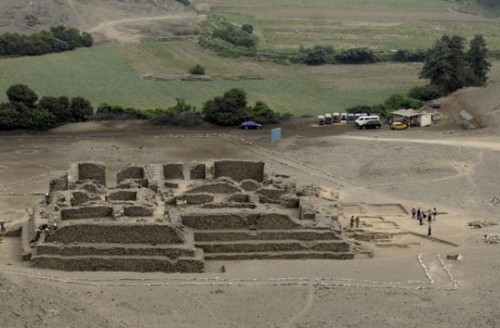 Pyramid at El Paraíso archaeological site, Peru.