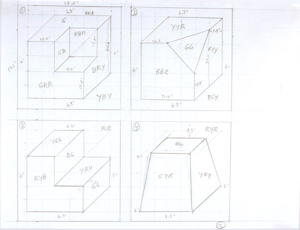Sol LeWitt, Working drawing for Wall Drawing #601: Forms derived from a cube (25 variations), 1999sol lewitt_web1