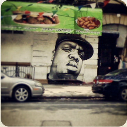 Notorious B.I.G. mural in Clinton Hill, Brooklyn.
