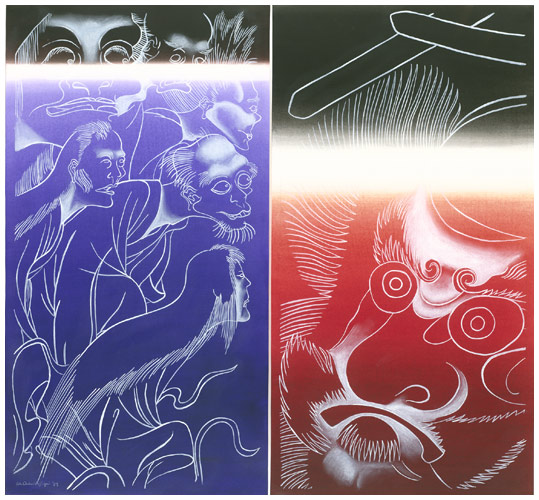 Ed Aulerich-Sugai, Ghosts and Demons: Diptych, 1989