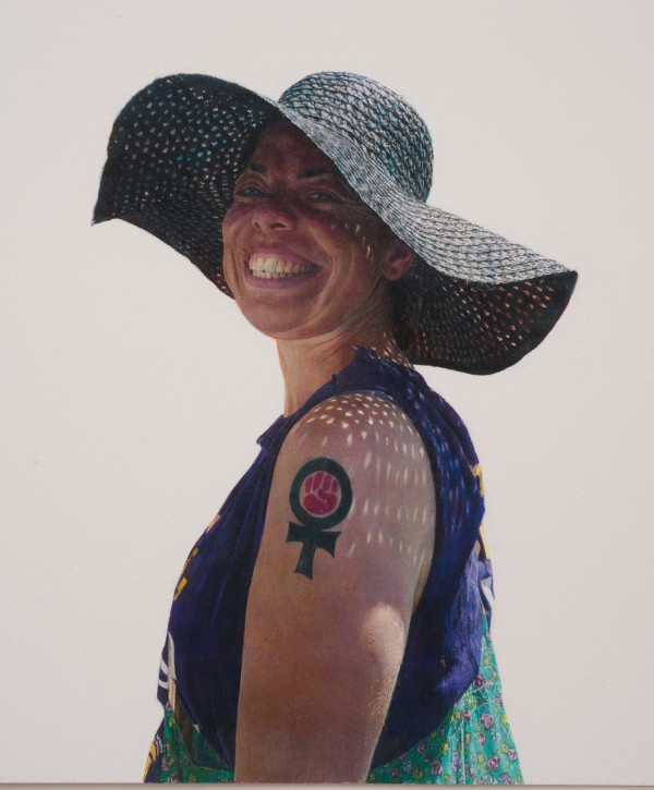 Woman With Straw Hat and Feminist Fist Tattoo (May Day March, Los Angeles, 2011)