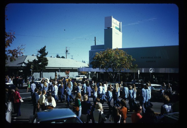 Charles Garoian, Documentation of Drill Team: Homecoming Parade, 1973; digitized slide documentation; collection of the artist; © Charles Garoian