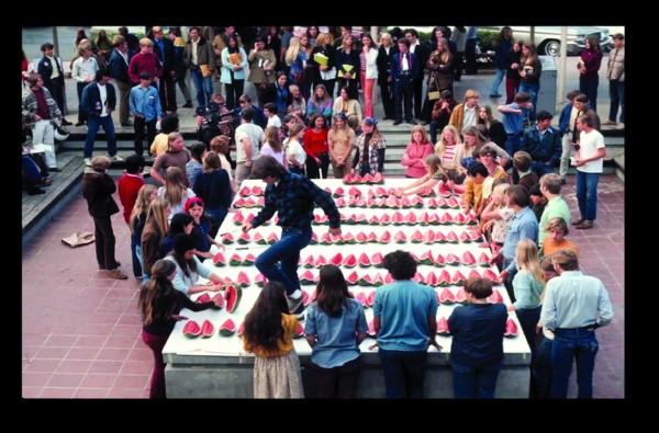 Charles Garoian, Documentation of Watermelon Sculpture, 1972; digitized slide documentation; collection of the artist; © Charles Garoian