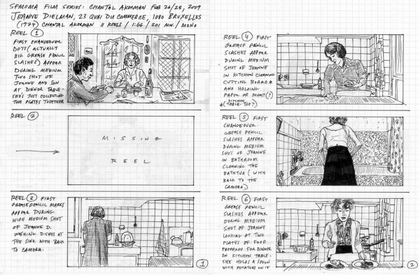 Paul Clipson, pages from REEL depicting Jeanne Dielman, 23 quai du Commerce, 1080 Bruxelles (Chantal Akerman, 1975).