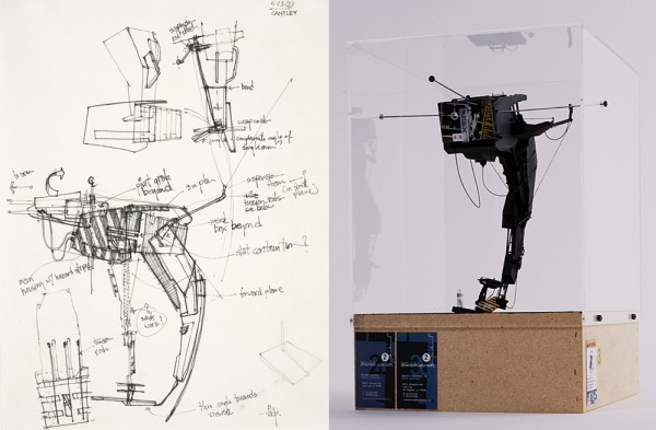 Left: Form:uLA Dimension Laboratory, Studio, <i>Batman Sketch 3.1</i>, 2000; Right: Form:uLA Dimension Laboratory, Studio, <i>Batman Model 3</i>, 2000