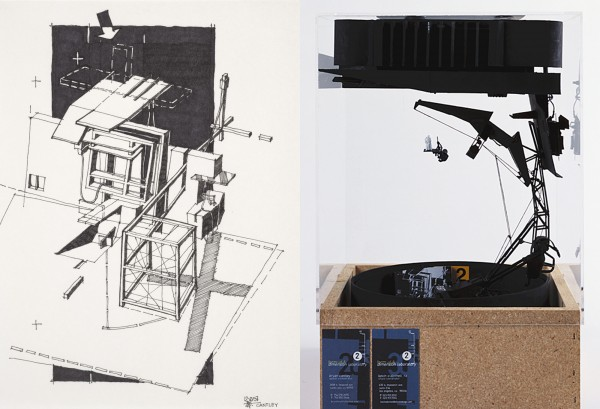 Left: Form:uLA Dimension Laboratory, Studio, Batman Sketch 2, 2000; Right: Form:uLA Dimension Laboratory, Studio, Batman Model 2, 2000