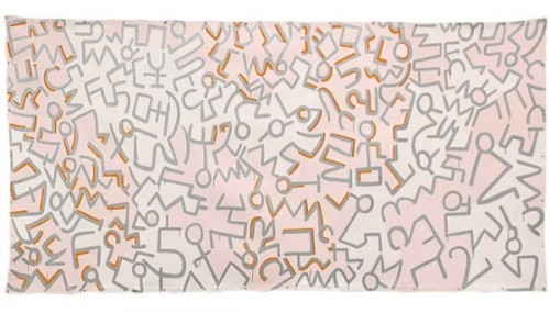 "Sturtevant. Haring Untitled. 1987. Acrylic on canvas. 6' 1/16"" × 13' 1/16"" (183 × 396.4 cm). Estate Sturtevant, Paris."