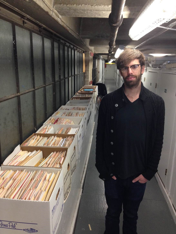 Geoffrey Wildander, who helped organize Dodie and Kevin's correspondence, at the storage unit.