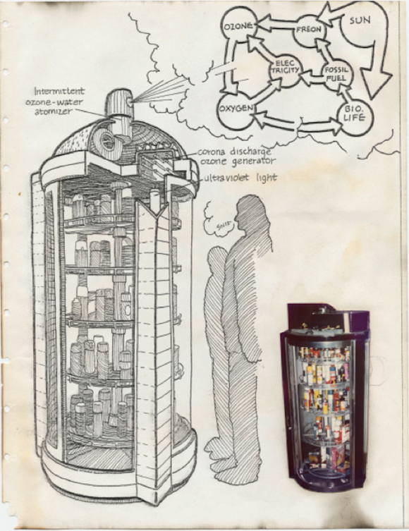 Ant Farm: Aerosol Arsenal (Time Capsule scrapbook page), c. 1975. Image courtesy: UC Berkeley Art Museum and Pacific Film Archive.