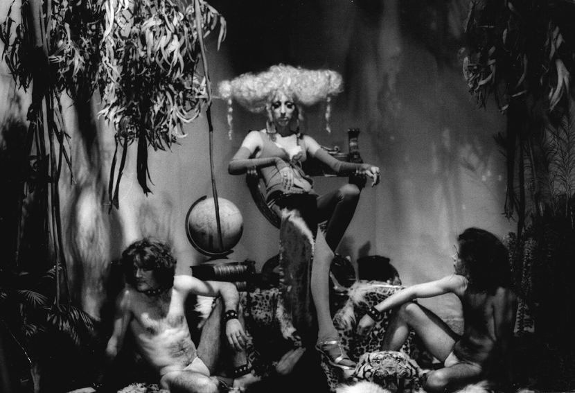 Pandora, star of Luminous Procuress (1971) and muse to director Steven Arnold, surrounded by her guardian cat people, members of the Cockettes.