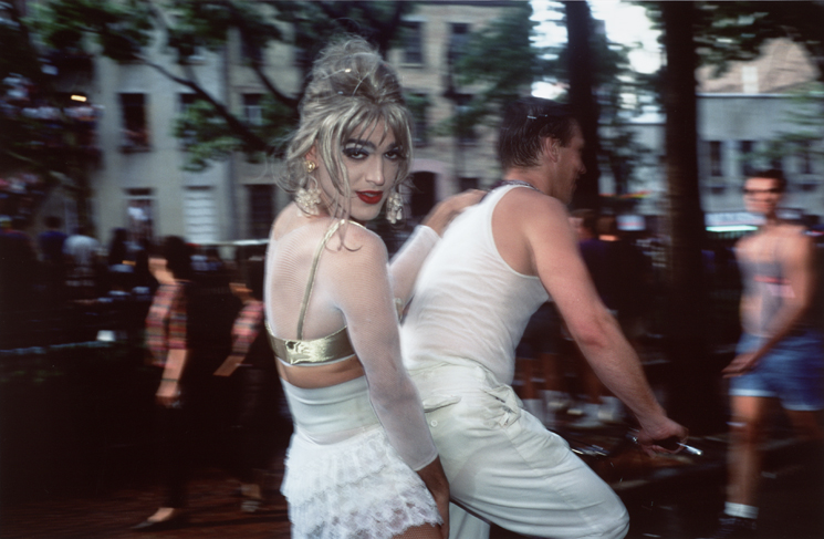 Nan Goldin, Jimmy Paulette on David's Bike, NYC, 1991; dye destruction print, 15 1/4 in. x 23 1/4 in. (38.74 cm x 59.06 cm); Collection SFMOMA, Accessions Committee Fund purchase; © Nan Goldin
