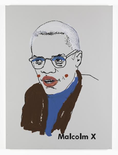 Glenn Ligon, Malcolm X (small version 1) #1, 2001; paint and screenprint on primed canvas, 48 in. x 36 in. (121.92 cm x 91.44 cm); Collection SFMOMA, Gift of Anthony and Celeste Meier; © Glenn Ligon