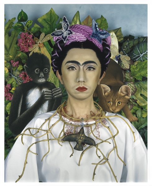Yasumasa Morimura, An Inner Dialogue with Frida Kahlo (Collar of Thorns), 2001; chromogenic print, 52 x 42 x 3 in. (132.08 x 106.68 x 7.62 cm); Collection SFMOMA, Gift of Carla Emil and Rich Silverstein; © Yasumasa Morimura