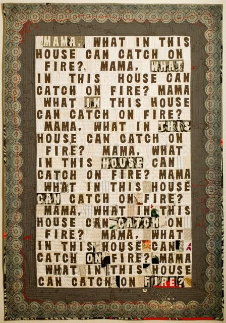"Amy Meissner, Spontaneous Combustion, 2013; wool, cotton, vintage domestic linens. Machine pieced, hand embroidered & appliquéd, hand quilted, 57 in. x 77 in. Permanent Collection, Anchorage Museum at Rasmuson Center. Juror's Choice Award, ""Earth, Fire & Fibre XXIX"" biennial exhibition, Anchorage Museum."