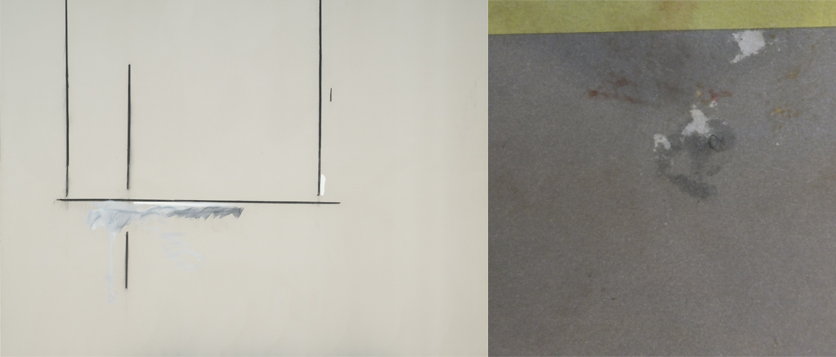 Left: Robert Motherwell, Open No. 124, 1969; Right: Cover of Arthur's I Ching (detail)