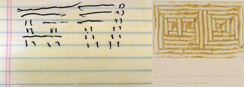 Left: Coin results (I Ching) for Angela, Arthur Paul David White, 2016, ink on yellow notebook paper; Right:Paul Klee, Nachbar-türen (Neighboring Doors), 1933