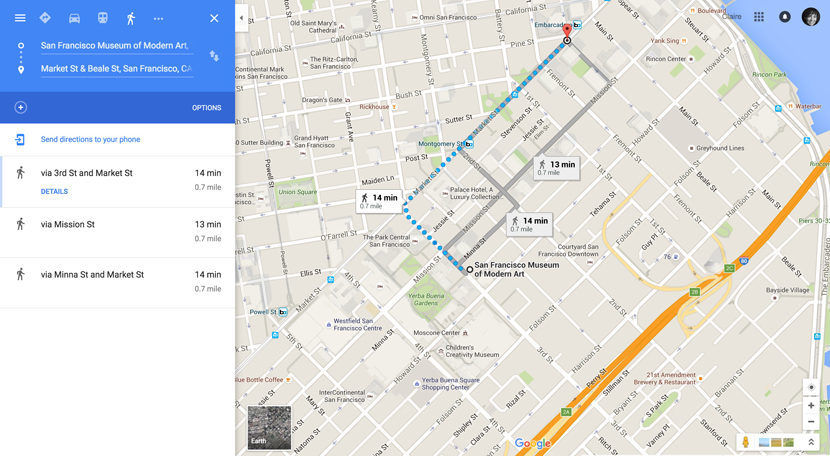 Itinerary 2 (for Korakrit Arunanondchai): SFMOMA to Market Street, going east.