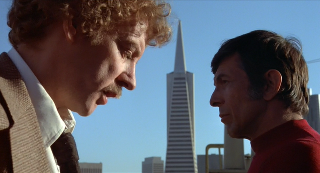 Donald Sutherland and Leonard Nimoy in INVASION OF THE BODY SNATCHERS (1978)