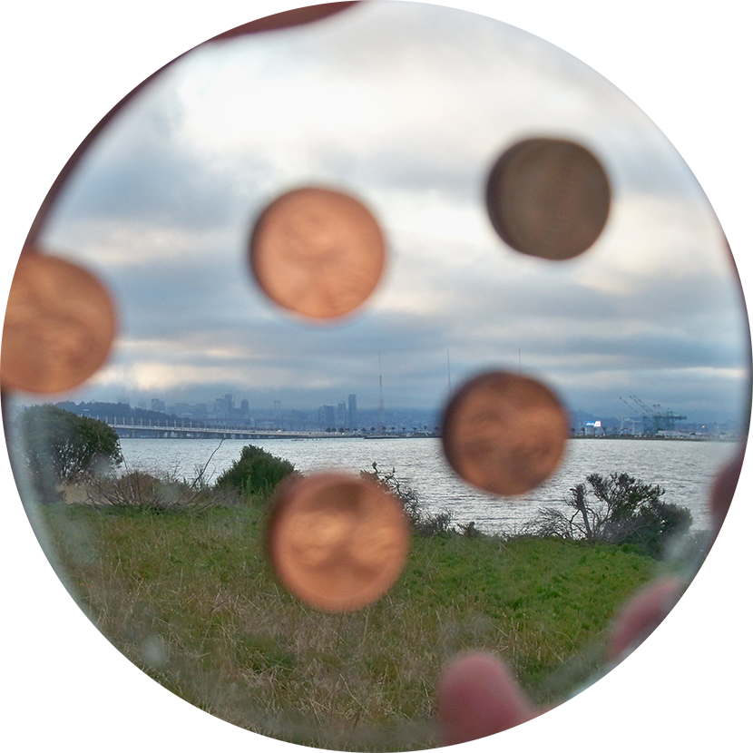 Emblem for Emeryville Mudflats; pennies, mirror.