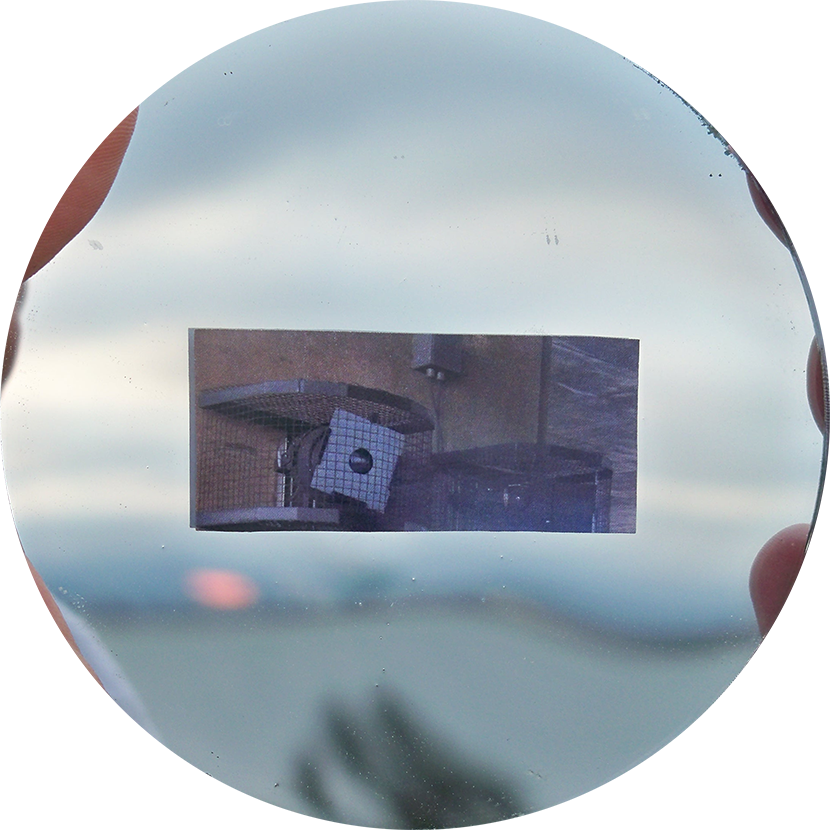 Emblem for Emeryville Mudflats; inkjet print, concave mirror.