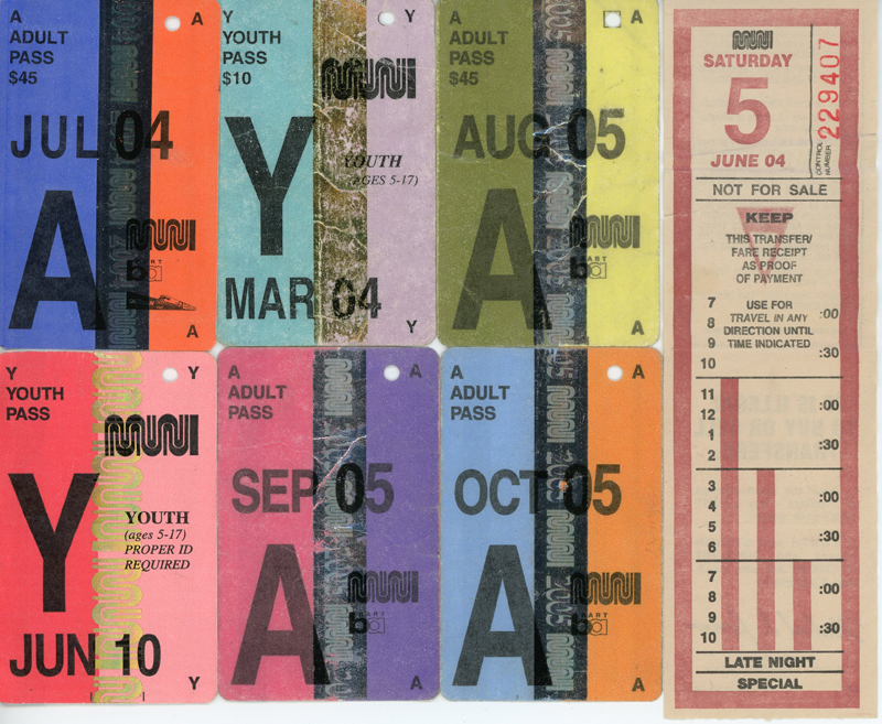 "My Myspace user name was ""Mel on the 71"" a nod to the 71-Haight I rode on the regular. That transfer was from the day I graduated high school. Notice that a FastPass was $45 in 2004 – it's $86 now."