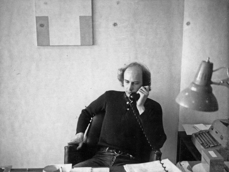 Douglas Crimp in his office at the Solomon R. Guggenheim Museum, New York, c. 1970. Photographer unknown.