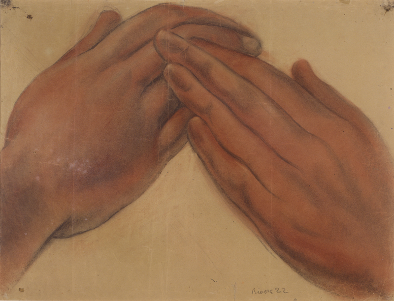 Diego Rivera, Untitled (Hands of the figure Hope), study for the mural Creation, Anfiteatro Bolívar, Escuela Nacional Preparatoria, Mexico City, 1922