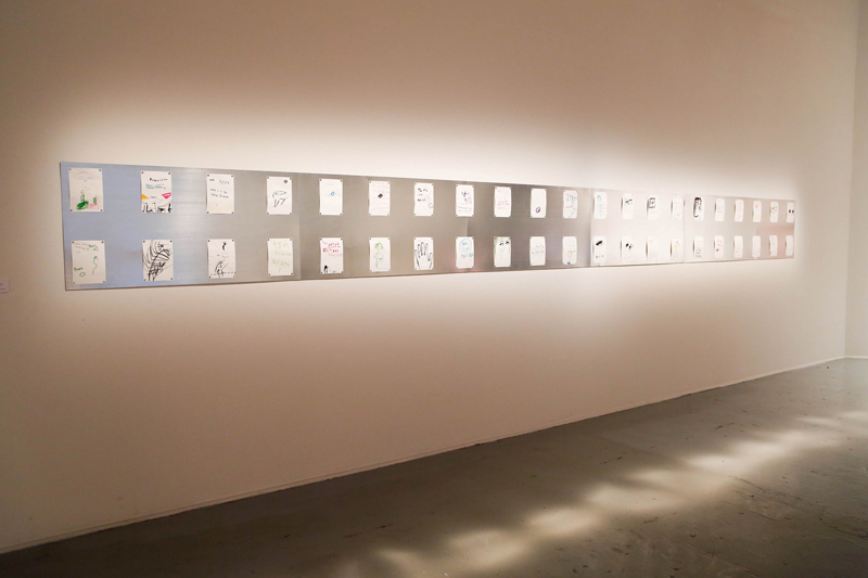 Manuel Solano, Punchis Punchis, 2016; 42 drawings, pen and marker on paper, 21cm x 14.18cm each; courtesy Galeria Karen Huber. Photo by Kelly Wu.