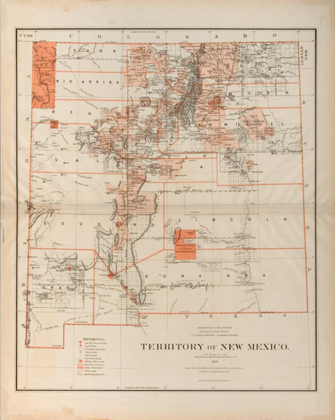 New Mexico territory map, 1876.