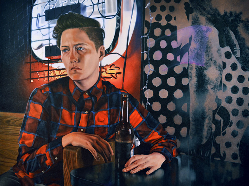 "Amanda Kirkhuff, Lesbian In A Gay Bar, 2016; oil on canvas, 57"" x 43""."