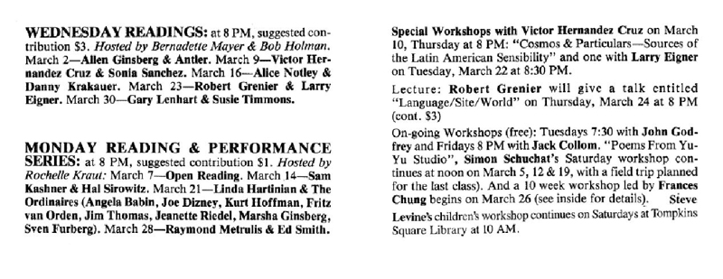 The event listing for Robert Grenier and Larry Eigner's trip to the Poetry Project, from <em>The Poetry Project Newsletter</em>, #97 (March 1983).
