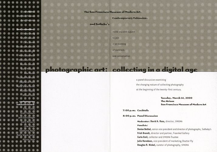 "Panel Discussion invitation: ""Photographic Art: Collecting in a Digital Age,"" 2000. Click to enlarge."