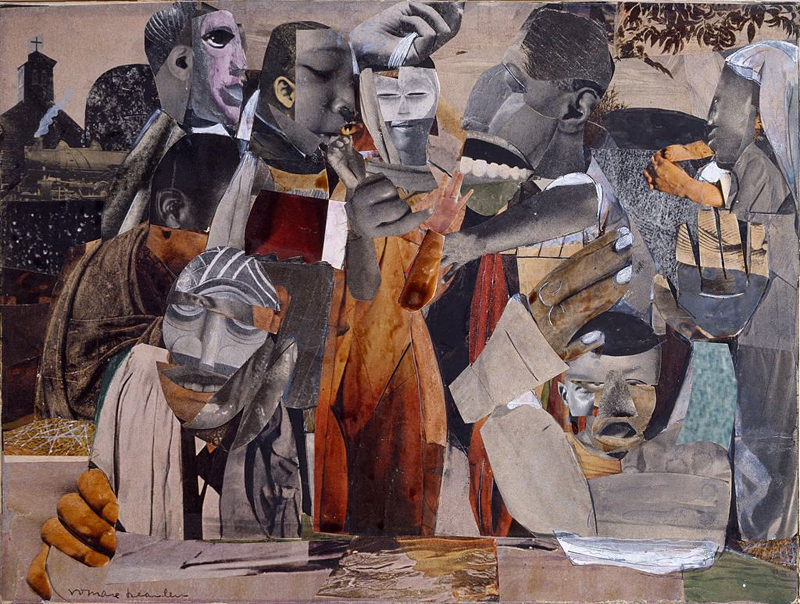 Romare Bearden, The Prevalence of Ritual: Baptism, 1964. Photomechanical reproductions, paint, and graphite on board, 9 1/8 x 12 in.