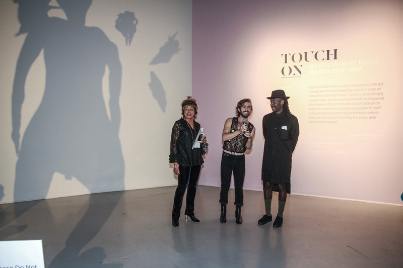 SOMArts director Maria Jensen, James Fleming, and Kelly Lovemonster at the Touch On opening reception, December 1, 2016. Photo: Kelly Wu.