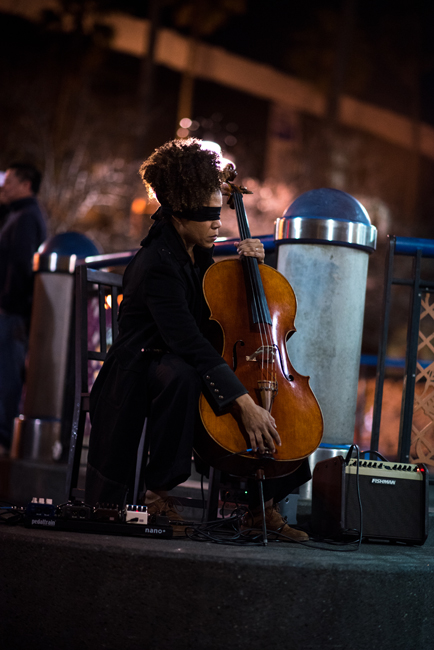 Simone Bailey performs Sway, Clench, Release (Requiem No. 415) at the 16th St. Plaza in the Mission on February 24, 2018. Photo: Hillary Goidell.