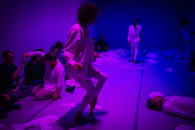 Maurya Kerr (foreground) and Julie Tolentino (on floor at right) during felt room.