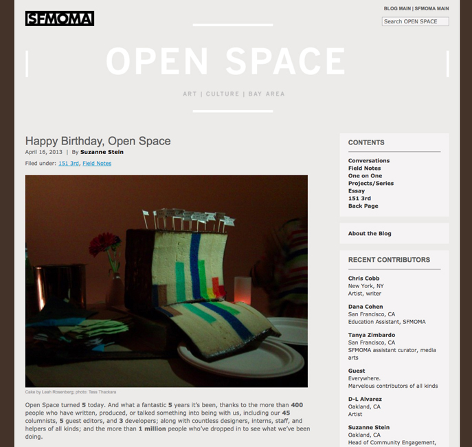 The opinions of this writer do not necessarily reflect… On Open Space's Tenth Anniversary