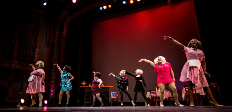 Dulce De Leche, VivvyAnne ForeverMORE!, Kitty Von Quim, Laundra Tyme, Trixxie Carr LOL McFiercen, Honey Mahogany in Daughters of a Riot, May 2016 at Brava Theater. Photo: Robbie Sweeny.