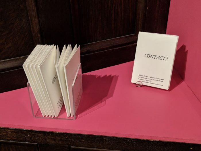 """Contact"" Installation Books in close-up"