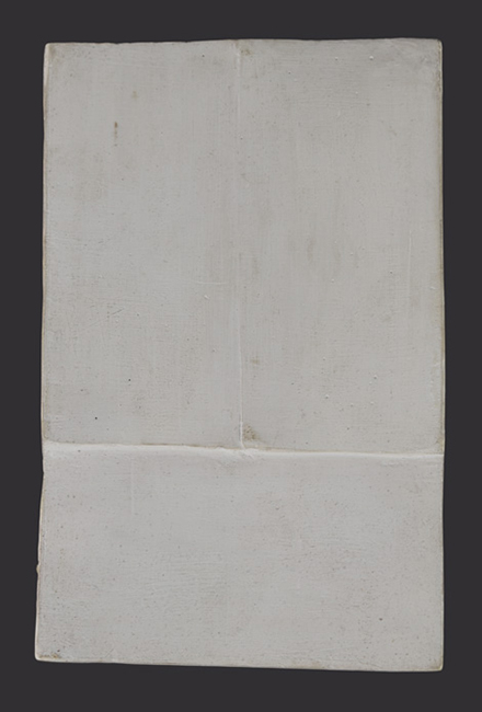 Chryssa, Cycladic Book, c. 1954-55; plaster; 7 1/4 x 4 inches; University of California, Berkeley Art Museum and Pacific Film Archive, Gift of Susan Meller