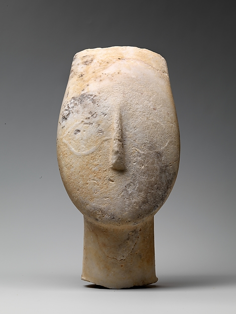 Anonymous, Marble head from the figure of a woman; Early Cycladic II, 2700–2500 B.C.; marble; h 9 15/16 in.; Metropolitan Museum of Art, Gift of Christos G. Bastis
