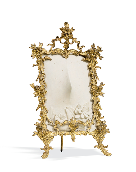 Meret Oppenheim, Miss Gardenia, 1962; plaster in metal frame with metallic paint, 10 5/8 in. x 6 1/2 in. x 4 1/4 in. (26.99 cm x 16.51 cm x 10.8 cm); Collection SFMOMA, Helen Crocker Russell Memorial Fund purchase; © Artists Rights Society (ARS), New York / ProLitteris, Zürich