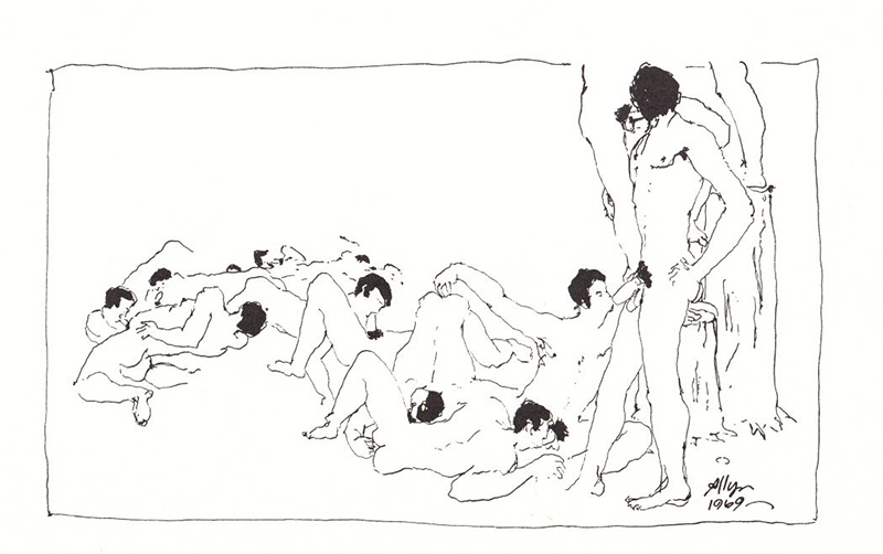 A drawing by Allyn Amundson in Sebastian Quill No. 2, 1971. Courtesy Ithuriel's Spear Press.
